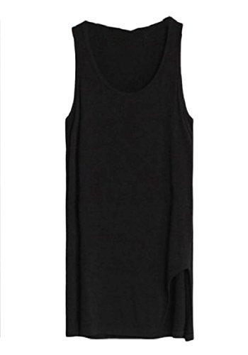 ヒットシビック軌道Tootess 婦人用ピュアカラースプリットミッドロングtシャツ薄特大のベスト