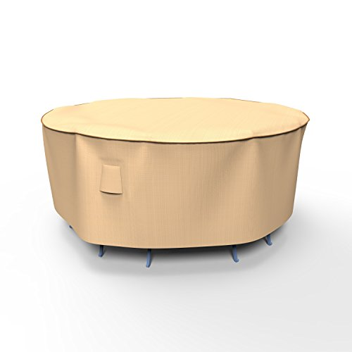 Combo Cover 30 Inch Drop - EmpirePatio P5A08TN1 Signature Tan Small Round Table and Chair Combo Cover