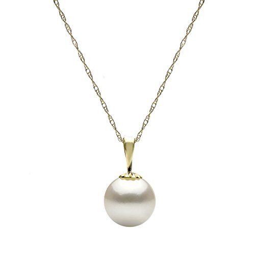 14K Gold Chain White Freshwater Cultured Pearl Pendant Necklace for Women 18 - Ring Ribbon Gold White