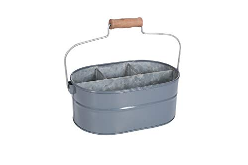 Galvanized Metal Caddy with 4 Compartments, Kitchen Utensil Holder, Drink Tub Caddy, Picnic Caddy, Serveware Utensil…