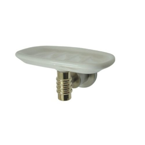 (Kingston Brass BAH8615SNPB Milano Ceramic Soap Dish, Satin Nickel/Polished)
