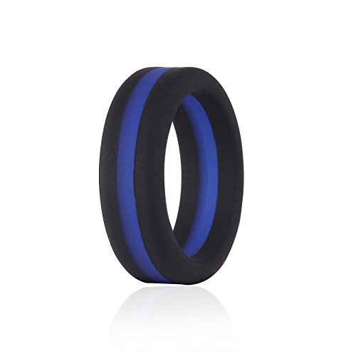 - Silicone Wedding Ring Blue Line Thin Stripe for Men, Black Flexible Rubber Alternative Bands Set, Elastic Non Metal for Mechanic Workout, Active Athlete Exercise, Sprot Keep Fit