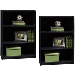 bundle 2 ameriwood 3 shelf adjustable bookcase black color very affordable bookshelves make - Affordable Bookshelves