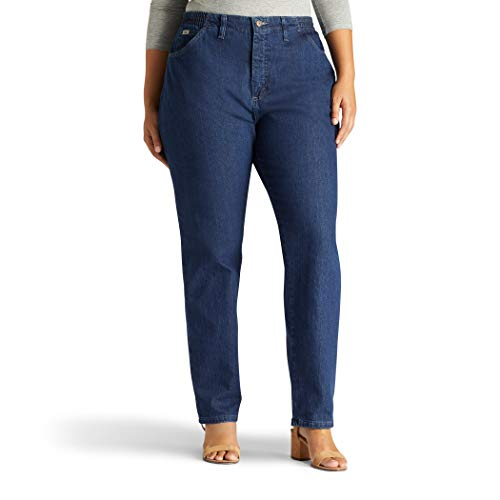 Lee Women's Plus-Size Relaxed Fit Side Elastic Tapered Leg Jean, Dark Indigo, 18W Long ()