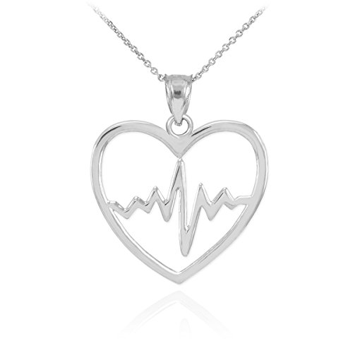 925 Sterling Silver Lifeline Pulse Heartbeat Charm Open Heart Pendant Necklace, 18""