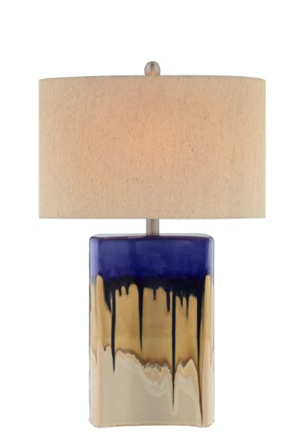 Multi Color Finish Table Lamps (Catalina 19072-000 3-Way 27-Inch Ceramic Table Lamp with Multi-Color Drip Glaze Finish and Oval Linen Hardback Shade)