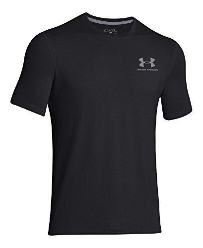 Under Armour Men's Charged Cotton Left Chest Lockup T-Shirt, Black /Steel, Small by Under Armour (Image #3)