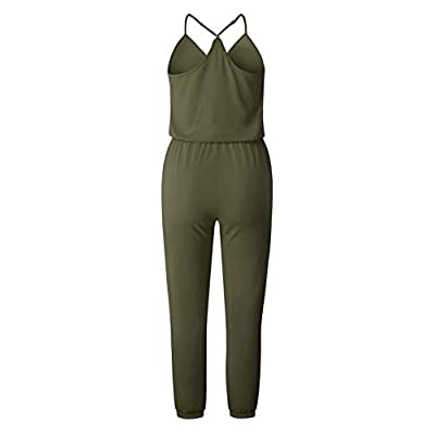 Adibosy Women V Neck Jumpsuits Overalls Strap Sleeveless Summer Casual Playsuit Rompers with Pockets: Clothing