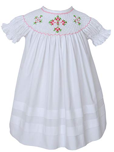 Carouselwear Girls Easter White Dress Christening Cross Dress Hand Smocked ()