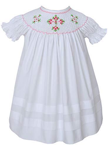 - Carouselwear Girls Easter White Dress Christening Cross Dress Hand Smocked