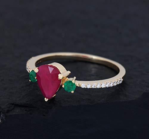 (Solid 18k Yellow Gold Ruby & Emerald Gemstone Certified Natural Diamond Jewelry)