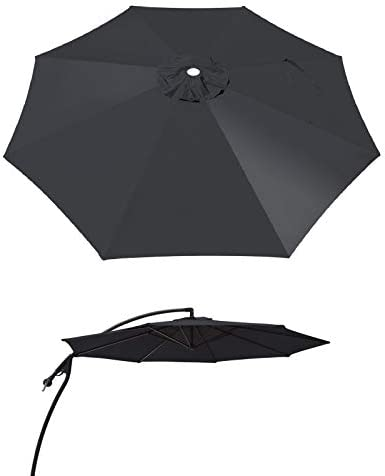 BenefitUSA 9ft- 8rib Umbrella Top Cover Canopy Patio Replacement Canopy Outdoor Black