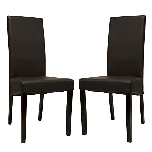 Premium Tobago Black Dining Chairs Set by Furniture Estate | Modern Faux Leather Side Chairs with Wooden Frame and Legs for Home and Restaurant Use - Set of 2 ()