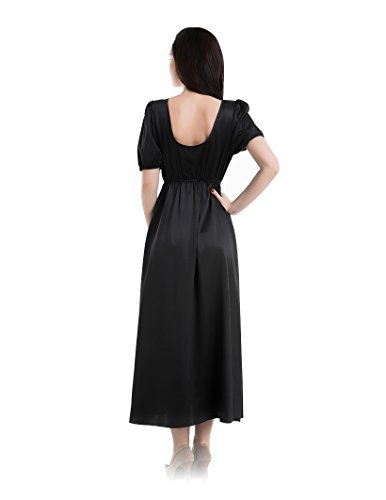 Collo Sexy Momme Seta V Profonda di Nero a 22 Donne Notte Camicia da W6SnxavvY