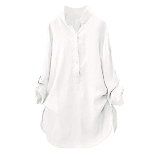 (iDWZA Women Casual Roll up SleeveCotton Solid Button Down T Shirt Blouse Tops (XL,White))