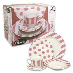 Pink Polka Dot Stripe Dish Plate Bowl Set for 4 Dinner  sc 1 st  Amazon.com & Amazon.com | Pink Polka Dot Stripe Dish Plate Bowl Set for 4 Dinner ...
