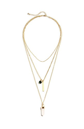 (B Jewelry Collection Triple Layer Necklace w Quartz Pendant, Rose)