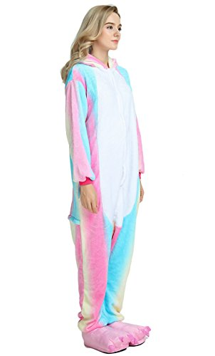 Famycos One-Piece Animal Costumes Pajama for Unisex Family School Cosplay Party (M, Colored Blue Unicorn-2)
