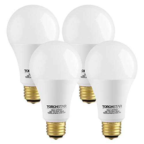 TORCHSTAR 3-Way 40/60/100W Equivalent LED A21 Light Bulb, Energy Star + UL-Listed, 2700K Soft White, E26 Medium Screw Base, for Table Lamp, Bedside Lamp, Pack of 4