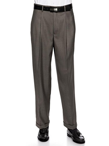 GIOVANNI UOMO Mens Pleate Front Traditional Fit Dress Pant  Charcoal 33 Medium