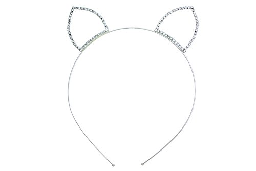 - Rosemarie Collections Women's Clear Crystal Cat Ears Headband