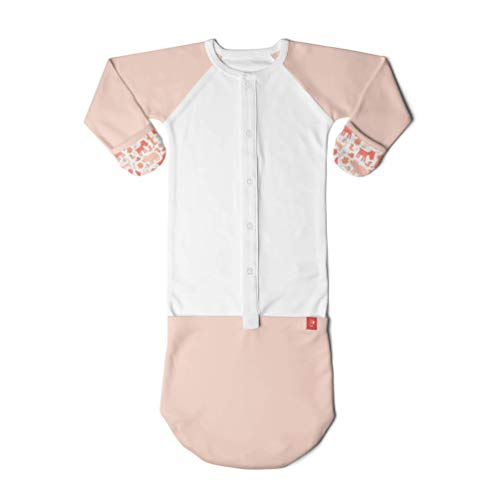 Goumikids Goumijamms Organic Smart Baby Gown, With No Scratch Mitts and Foot Pockets With Easy Diaper Change,forest friends poppy,0-3 Months (Best Bottom Forest Fellows)
