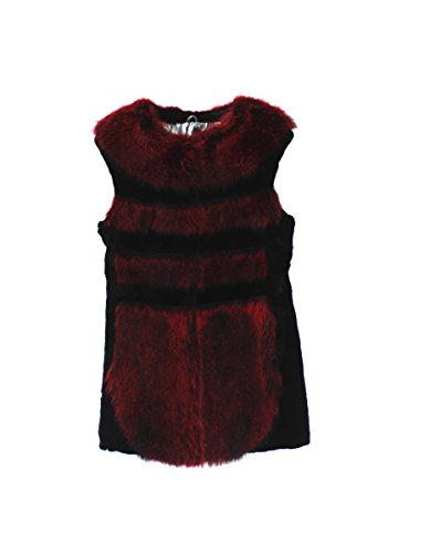 511525 New Black Red Sheared Rex Rabbit Raccoon Fur Vest Jacket Coat Stroller S