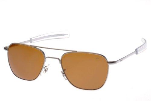 AO Eyewear Original Pilot 55mm Matte Chrome Frame Bayonet Temple Cosmetan Brown Glass Lens Sunglasses USMC USAF - Pilot Sunglasses Chrome