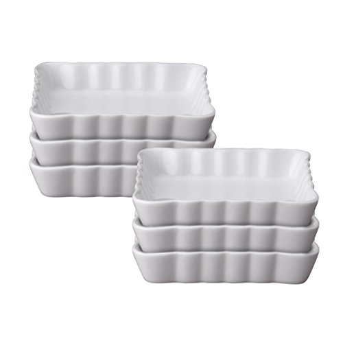 HIC Harold Import Co. 98024-6 4-Inch Square Creme Brulee Dish, Fine White Porcelain, Set of 6 by HIC Harold Import Co.
