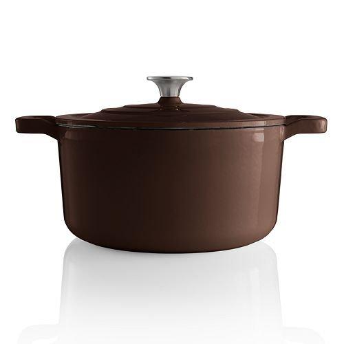 Food Network 3.5 qt Enameled Cast-Iron Dutch Oven Chocolate