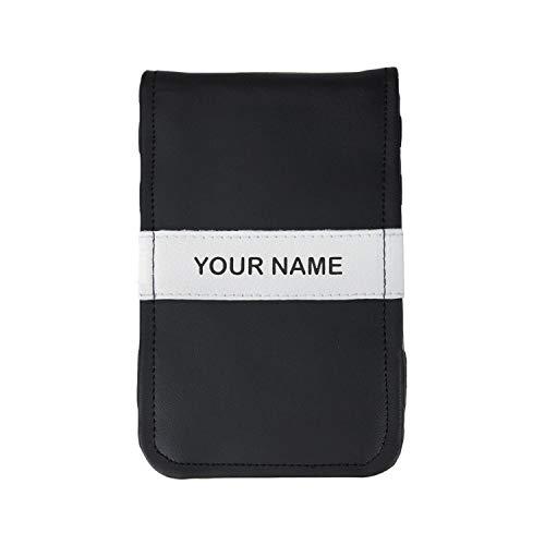 Leather Scorecard Holder - Sunfish Custom Golf Scorecard and Yardage Book Holder Name Engraved Black and White