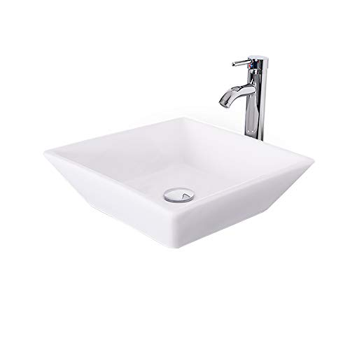 Eclife Promotion 1.5 GPM Water Save Counter Top Porcelain Ceramic Sink Bowl White Square Bathroom Vessel Sink Combo with Chrome Solid Brass Faucet and Pop Up Drain A07