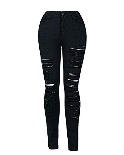 Femmes Skinny Denim Boyfriend Jeans Dchirs Pantalon Slim Stretch Crayon Taille Haute Jeans Pants Jeggings Collants Noir