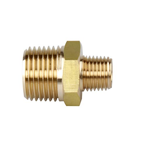 AirJade Brass Pipe Fitting, Hex Nipple, 1/2'' x 1/4'' NPT Male Pipe (1/2'' x 1/4'') ()