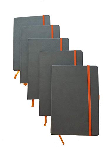 ImpecGear Classic Notebook/Writing Journal 5.5 x 8.25 Black Gray Orange Free Pen (Pack of 5, Gray/Orange) ()