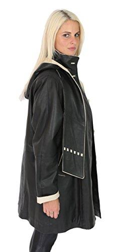 Dames Réconforter Garniture Capuche Noir Beige 3 Long Robe 4 De Fit Veste Pat Manteau À En Cuir Echarpe Parka qrxZwFr0I