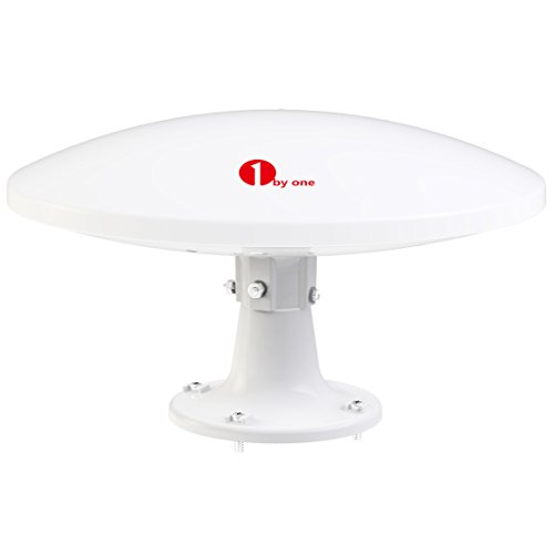 1byone Amplified RV Antenna with Omni-directional 360° Reception, 70 Miles Outdoor HDTV Antenna Caravan TV Antenna, Suitable for Both Outdoors and RVs, Anti-UV Coating,Waterproof and Compact