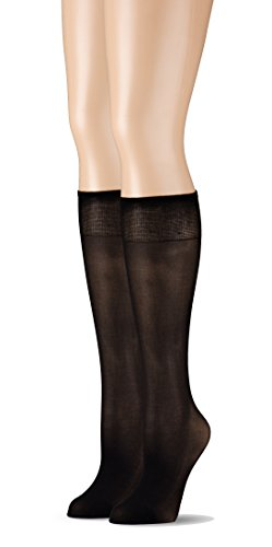Grandeur Hosiery Women's Ladies Plus Size Queen Ultra Soft Mild Compression Microfiber Knee High Stockings 2-Pack Black 3X