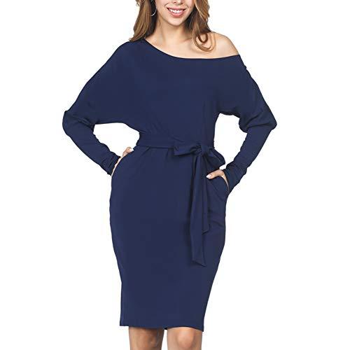 ORICSSON Women Midi Dress Bubble Sleeve Knee Length Party Evening Dress