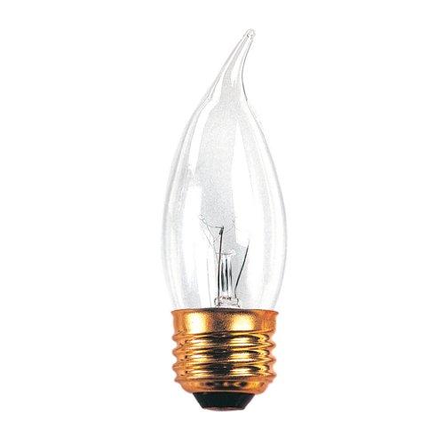 Bulbrite 40EFC/2 40-Watt Medium Base Incandescent Flame-Tip Chandelier Bulb, Clear