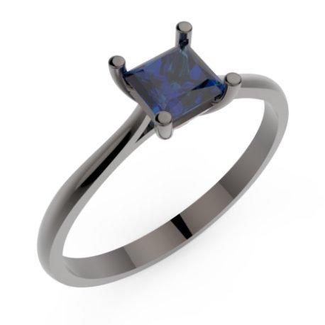HARMONY Bagues Or Noir 18 carats Saphir Bleu 0,6 Princesse