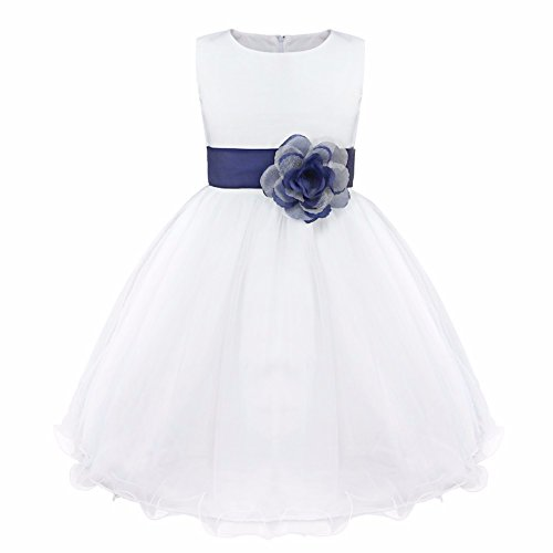 - FEESHOW Satin Bodice White Communion Flower Girl Wedding Party Pageant Dress Navy Blue 8
