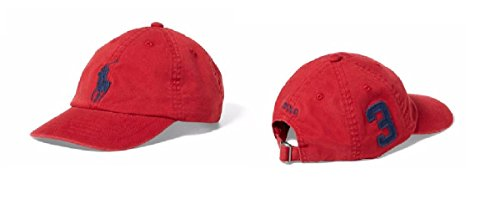 Red Big Pony - Ralph Lauren Polo Boys' Big Pony Chino Sports Cap (2T-4T)