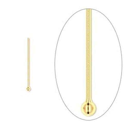 100 Gold Plated Brass 24 Gauge 3/4 Inch Long Ball Pins with 1.5Mm Ballpin by Aveshop