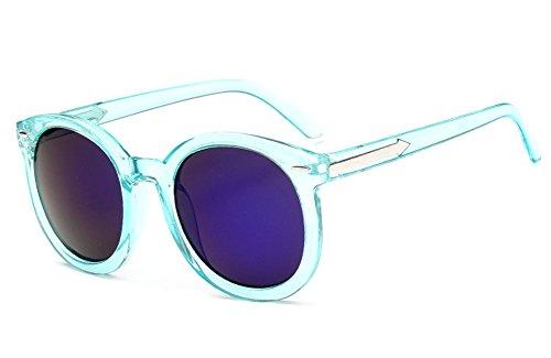 Marco de Mujer Lente protección Plana U Moda El Gafas UV Marco Plastico Conducción Gafas Redondo Kissing Vendimia Azul Calle Protección Completo de sol 45H1FFwqn