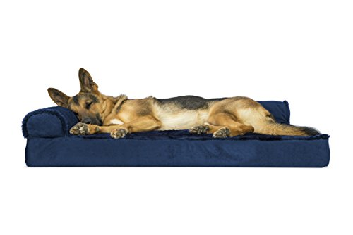 FurHaven Pet Dog Bed | Deluxe Orthopedic Plush & Velvet L-Shaped Chaise Couch Pet Bed for Dogs & Cats, Deep Sapphire, Jumbo ()