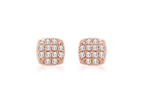 Coussin or rose 9carats serti de diamants boucles d'oreilles clous