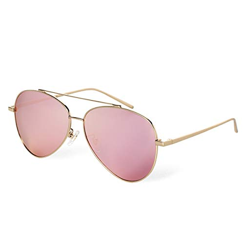 BLUEKIKI YEUX Aviator Polarized Sunglasses for Women Metal Frame Designer Eyeglasses(Rose ()