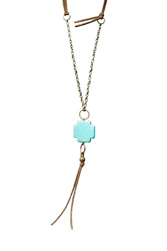 Glory Haus 8090013 Strong+Kind Cross Pendant Necklace, Turquoise