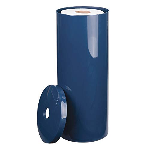 mDesign Modern Plastic Toilet Tissue Paper Roll Holder Canister Stand with Lid - Vertical Bathroom Storage for 3 Rolls of Toilet Tissue - Holds Large Mega Rolls - Navy Blue